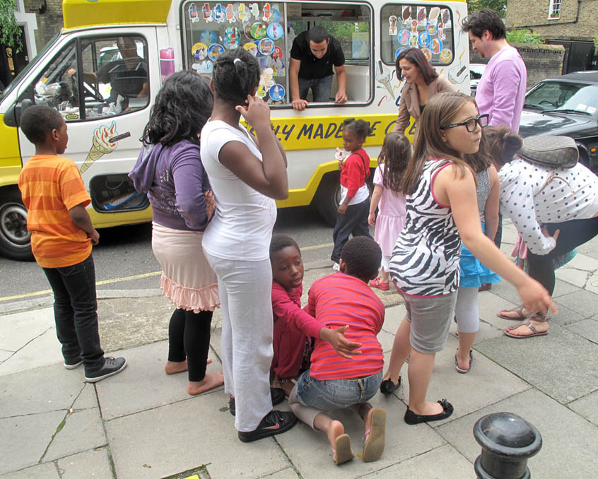 The children are offered ice-cream.