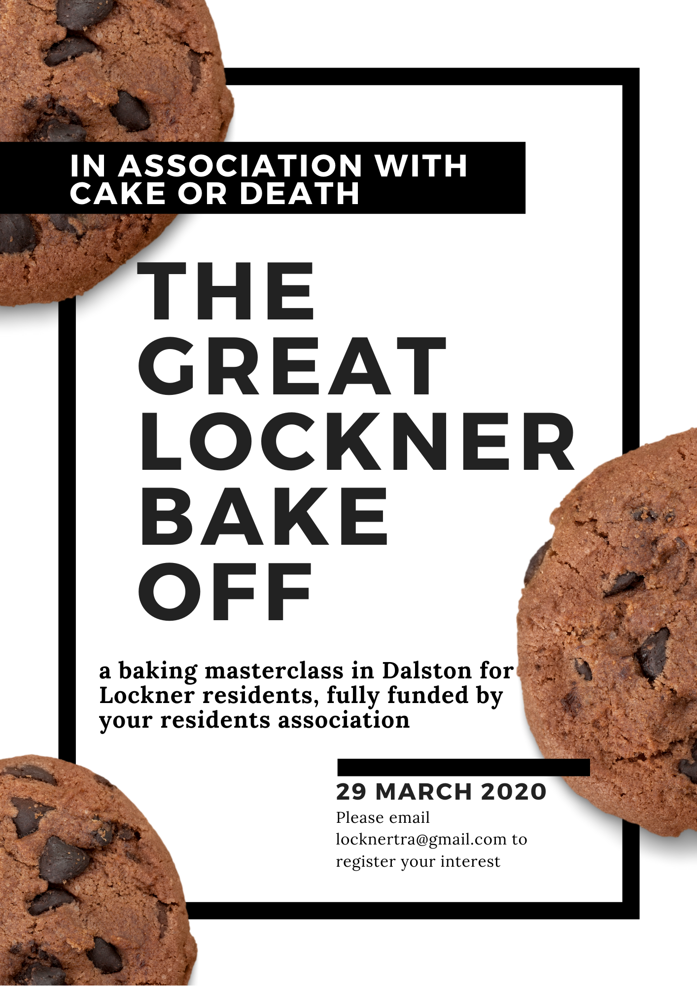White & Black Modern Cookies Bake Sale Flyer (1)